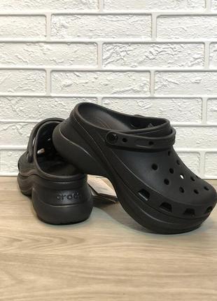 Крокс crocs classic bae clog, черные женские кроксы на платформе оригинал.