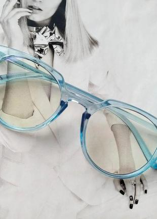 Компьютерные имиджевые очки с прозрачной линзой голубой