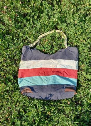 1+1=3 вместительная сумка торба в полоску натуральная ткань