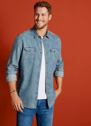 Рубашка мужская джинсовая livergy германия размер м