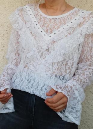 Кружевная блуза с воланами пог 60 батал