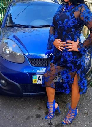 Платье накидка черное в синие цветы