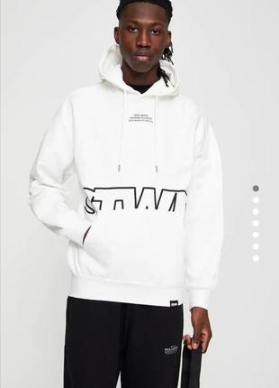 Стильное белое худи свитер толстовка pull&bear