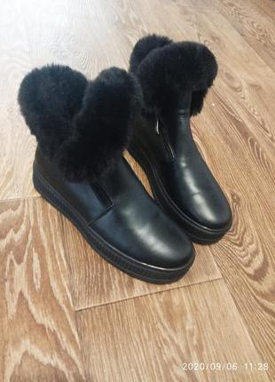 Классные зимние ботинки 💯%кожа.