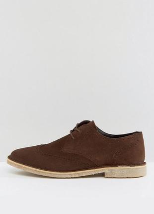 Замшевые кожаные коричневые туфли asos броги мужские