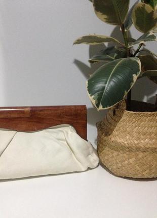 Винтажный клатч на деревяной ручке