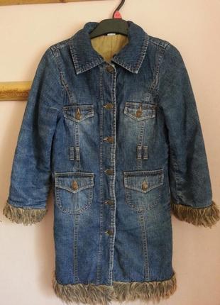Джинсовая куртка adams с мехом на девочку 8 лет