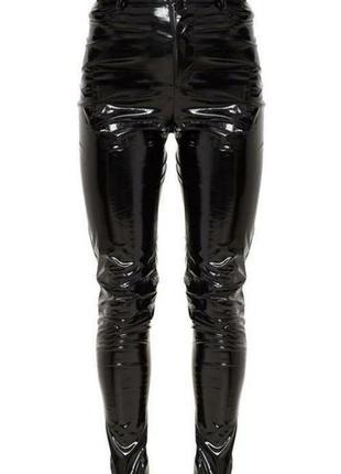 Штаны скини виниловые лаковые узкие штаны под латекс