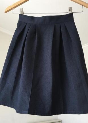 Школьная юбка форма темно-синяя шкільна спідниця 7-8 років лет 128