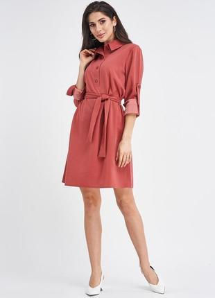 Платье-рубашка с присборенными рукавами