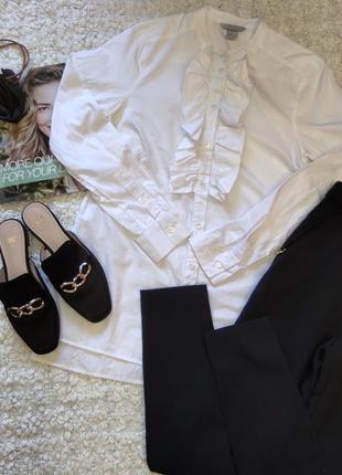 Белая рубашка без воротника оверсайз с рюшами