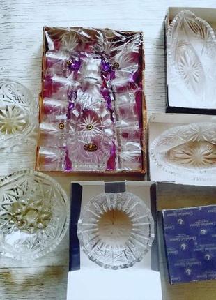 Нові хрустальні вази, графін і рюмки +3 вази в подарунок