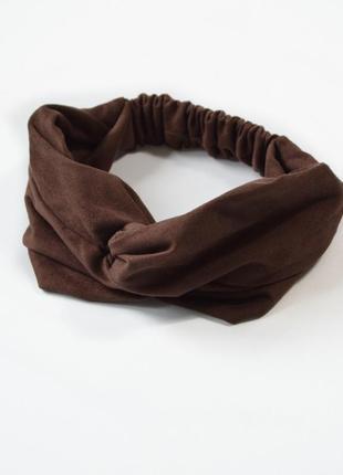 Осенняя женская повязка чалма на голову коричневая