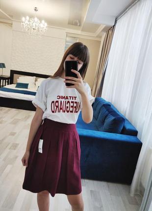 Новая бордовая юбка тюльпан миди