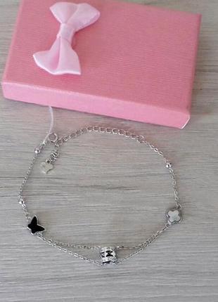 Розпродаж: стильний срібний браслет 'van cleef' з перламутром та оніксом, 925 проба