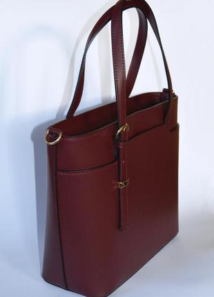 Итальянская кожаная сумка марсала в деловом стиле, италия4