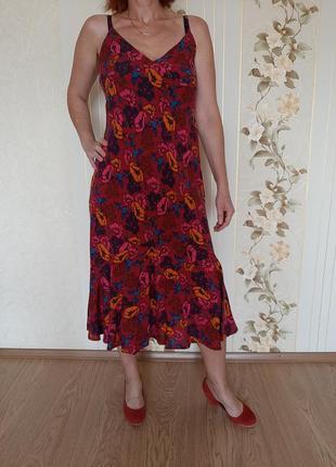 Шикарный сарафан платье миди в крупных цветах