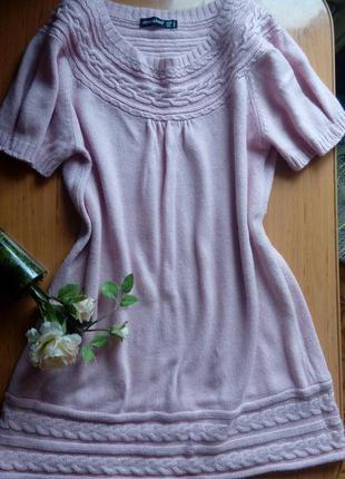 Нежная красивой вязки туника цвета розовой пудри. подойдет на m-l