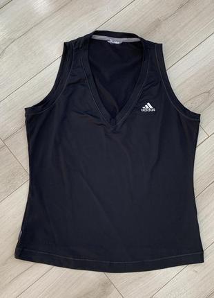 Чёрная оригинальная дышащая майка adidas