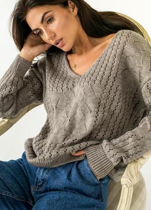 Вязаный пуловер свитер свободного кроя