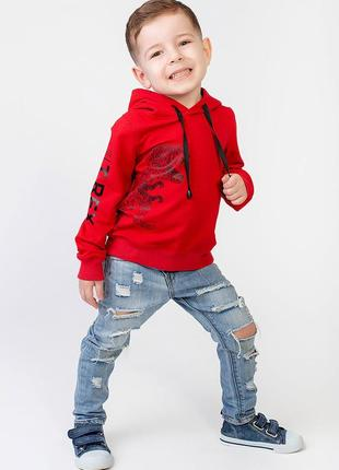 Модный хлопковый детский худи t-rex украинского производителя