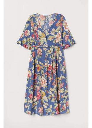 Шикарное миди платье на пуговицах цветочное платье h&m сукня міді