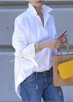 Женская удлиненная рубашка белый, беж