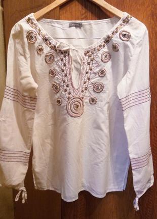 Блуза, туника с вышивкой,100% хлопок