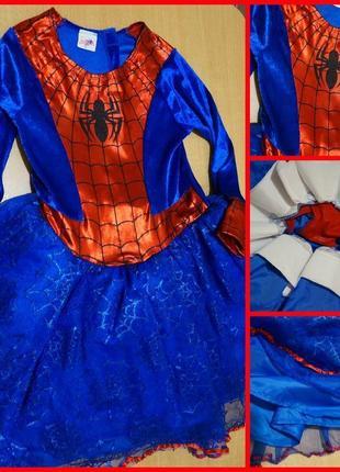 Spider-man marvel карнавальное платье человек паук 8-9 лет новогодний костюм хэллоуин
