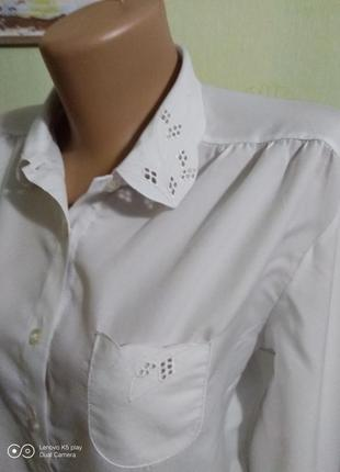 Белоснежная, воздушная блузка,рубашка-m-l- англия--не ношена