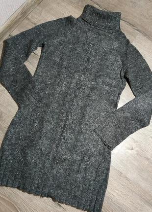 Теплый свитер удлененный, туника, серая с люрексом mango