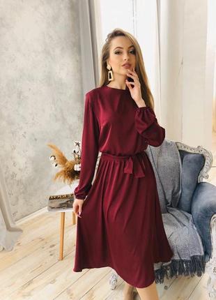 1740.     бордовое шелковое платье
