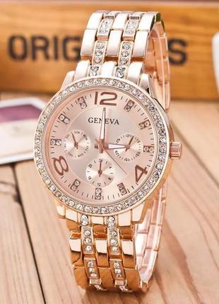 Часы женские наручные цвета розового золота годинник