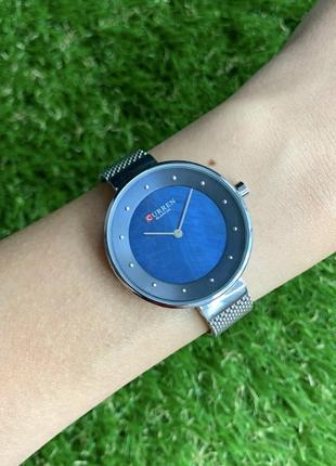 Женские наручные часы curren blanche серебристые с синим металлические