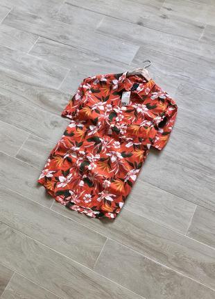 Рубашка с цветами h&m гавайка тениска