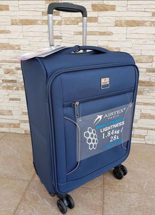 Ультра легкий тканевый чемодан под ручную кладь на 4-х кол. airtex 841 s , (оригинал)