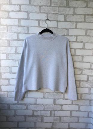 Серый свитер оверсайз h&m, джемпер