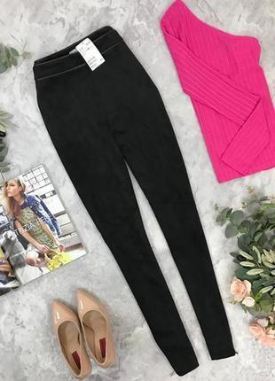 Актуальные брюки с окантовкой из эко-кожи от h&m pn1847131 h&m
