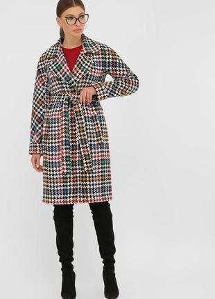 Женское демисезонное пальто гусиная лапка шерсть ч/б цветная ч/б-коричн ч/б-серая ч/б-беж