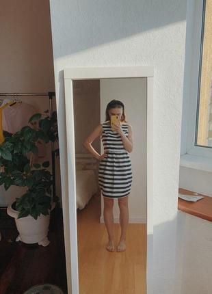 Черно-белое полосатое платье ostin, 38 размера, объемное