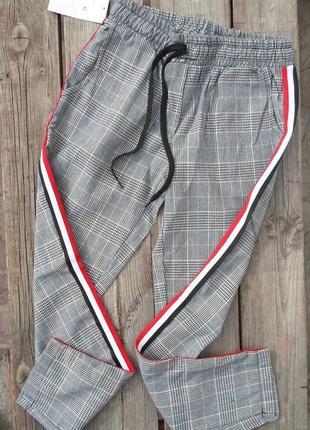 Новые брюки в клетку с лампасами 100% коттон размер 42/s/36
