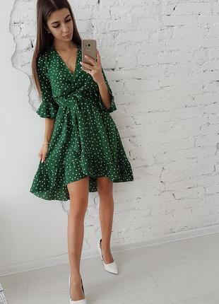 Зеленое платье monki на запах