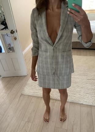 Костюм пиджак юбка в клетку h&m
