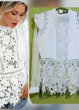 Невероятно шикарная блуза с прозрачными рукавами, размер м.