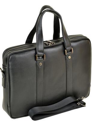 Мужской кожаный портфель, сумка черная деловая для документов