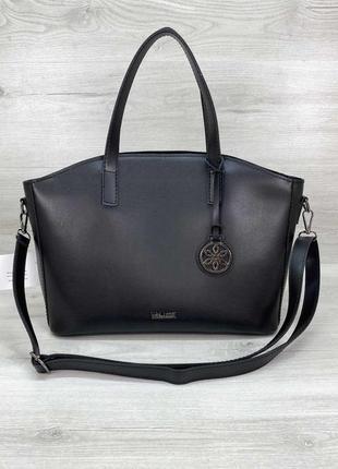 Женская черная сумка деловая с длинными ручками на плечо
