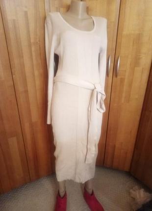 Платье миди молочного цвета lost ink , 100% хлопок,  англия