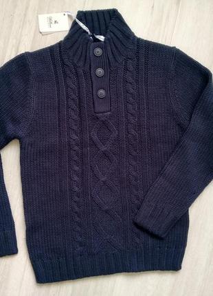 Теплый вязанный свитер под горло на пуговицах william