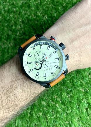 Мужские наручные часы curren коричневые с белым из искусственной кожи