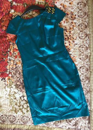 Нарядное атласное платье бирюзового цвета с камнями. oodji. р.46